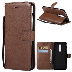 Retro Greek Classic Smooth PU Leather Wallet Phone Case for OnePlus 6 - Brown