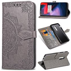 Embossing Imprint Mandala Flower Leather Wallet Case for OnePlus 6 - Gray