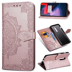 Embossing Imprint Mandala Flower Leather Wallet Case for OnePlus 6 - Rose Gold