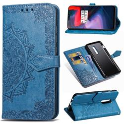 Embossing Imprint Mandala Flower Leather Wallet Case for OnePlus 6 - Blue