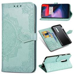 Embossing Imprint Mandala Flower Leather Wallet Case for OnePlus 6 - Green