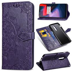 Embossing Imprint Mandala Flower Leather Wallet Case for OnePlus 6 - Purple