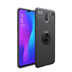 Auto Focus Invisible Ring Holder Soft Phone Case for OnePlus 6T - Black