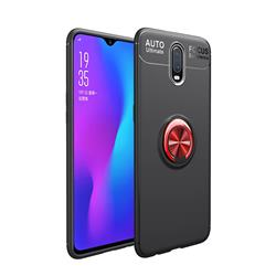 Auto Focus Invisible Ring Holder Soft Phone Case for OnePlus 6T - Black Red