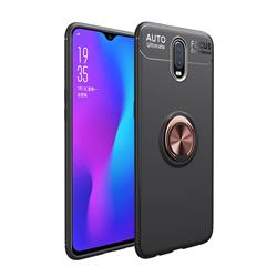 Auto Focus Invisible Ring Holder Soft Phone Case for OnePlus 6T - Black Gold