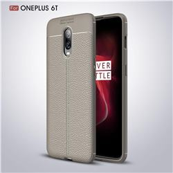 Luxury Auto Focus Litchi Texture Silicone TPU Back Cover for OnePlus 6T - Gray