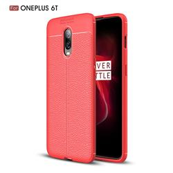 Luxury Auto Focus Litchi Texture Silicone TPU Back Cover for OnePlus 6T - Red