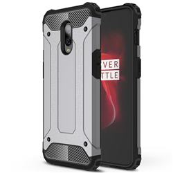King Kong Armor Premium Shockproof Dual Layer Rugged Hard Cover for OnePlus 6T - Silver Grey