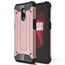 King Kong Armor Premium Shockproof Dual Layer Rugged Hard Cover for OnePlus 6T - Rose Gold