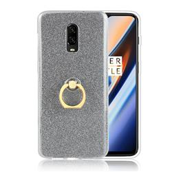 Luxury Soft TPU Glitter Back Ring Cover with 360 Rotate Finger Holder Buckle for OnePlus 6T - Black