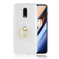 Luxury Soft TPU Glitter Back Ring Cover with 360 Rotate Finger Holder Buckle for OnePlus 6T - White