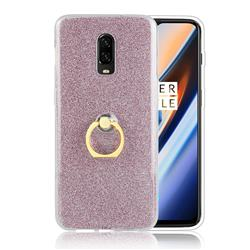 Luxury Soft TPU Glitter Back Ring Cover with 360 Rotate Finger Holder Buckle for OnePlus 6T - Pink