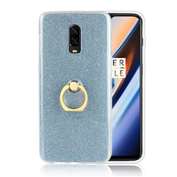 Luxury Soft TPU Glitter Back Ring Cover with 360 Rotate Finger Holder Buckle for OnePlus 6T - Blue
