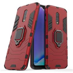 Black Panther Armor Metal Ring Grip Shockproof Dual Layer Rugged Hard Cover for OnePlus 6T - Red