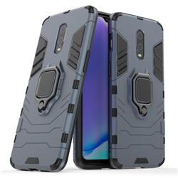 Black Panther Armor Metal Ring Grip Shockproof Dual Layer Rugged Hard Cover for OnePlus 6T - Blue