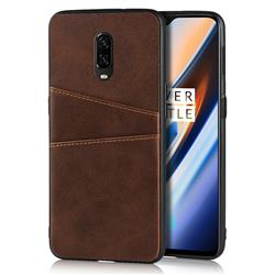 Simple Calf Card Slots Mobile Phone Back Cover for OnePlus 6T - Coffee