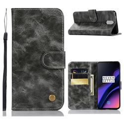 Luxury Retro Leather Wallet Case for OnePlus 6T - Gray