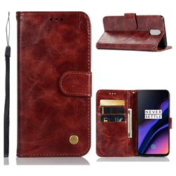 Luxury Retro Leather Wallet Case for OnePlus 6T - Wine Red