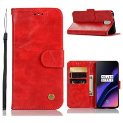 Luxury Retro Leather Wallet Case for OnePlus 6T - Red