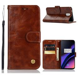 Luxury Retro Leather Wallet Case for OnePlus 6T - Brown