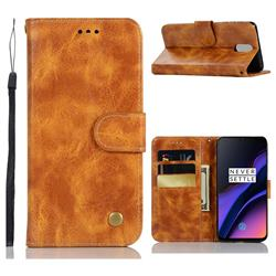 Luxury Retro Leather Wallet Case for OnePlus 6T - Golden