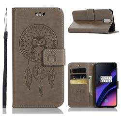 Intricate Embossing Owl Campanula Leather Wallet Case for OnePlus 6T - Grey