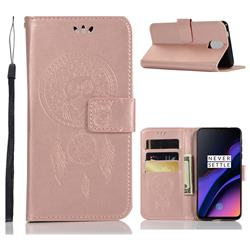 Intricate Embossing Owl Campanula Leather Wallet Case for OnePlus 6T - Rose Gold