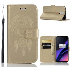 Intricate Embossing Owl Campanula Leather Wallet Case for OnePlus 6T - Champagne