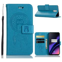 Intricate Embossing Owl Campanula Leather Wallet Case for OnePlus 6T - Blue