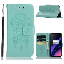 Intricate Embossing Owl Campanula Leather Wallet Case for OnePlus 6T - Green
