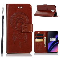 Intricate Embossing Owl Campanula Leather Wallet Case for OnePlus 6T - Brown