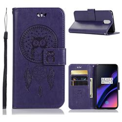 Intricate Embossing Owl Campanula Leather Wallet Case for OnePlus 6T - Purple