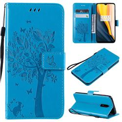 Embossing Butterfly Tree Leather Wallet Case for OnePlus 6T - Blue