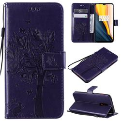 Embossing Butterfly Tree Leather Wallet Case for OnePlus 6T - Purple