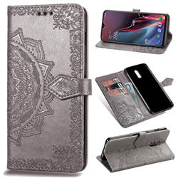 Embossing Imprint Mandala Flower Leather Wallet Case for OnePlus 6T - Gray