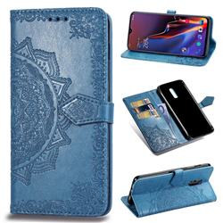Embossing Imprint Mandala Flower Leather Wallet Case for OnePlus 6T - Blue