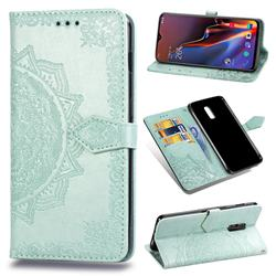 Embossing Imprint Mandala Flower Leather Wallet Case for OnePlus 6T - Green
