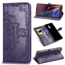 Embossing Imprint Mandala Flower Leather Wallet Case for OnePlus 6T - Purple