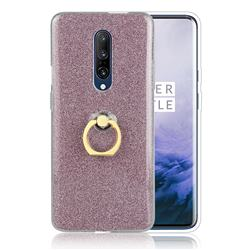 Luxury Soft TPU Glitter Back Ring Cover with 360 Rotate Finger Holder Buckle for OnePlus 7 - Pink