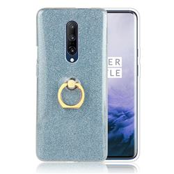 Luxury Soft TPU Glitter Back Ring Cover with 360 Rotate Finger Holder Buckle for OnePlus 7 - Blue
