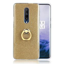Luxury Soft TPU Glitter Back Ring Cover with 360 Rotate Finger Holder Buckle for OnePlus 7 - Golden