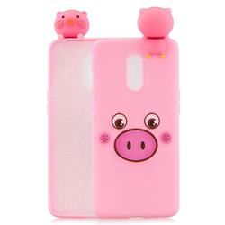 Small Pink Pig Soft 3D Climbing Doll Soft Case for OnePlus 7