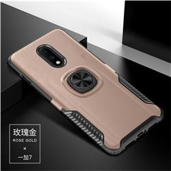 Knight Armor Anti Drop PC + Silicone Invisible Ring Holder Phone Cover for OnePlus 7 - Rose Gold
