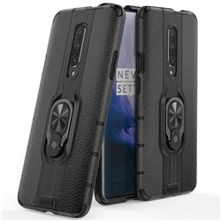 Alita Battle Angel Armor Metal Ring Grip Shockproof Dual Layer Rugged Hard Cover for OnePlus 7 - Black