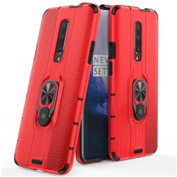 Alita Battle Angel Armor Metal Ring Grip Shockproof Dual Layer Rugged Hard Cover for OnePlus 7 - Red