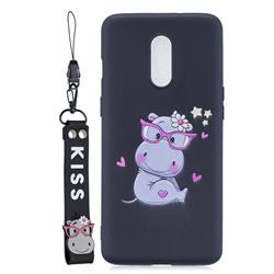 Black Flower Hippo Soft Kiss Candy Hand Strap Silicone Case for OnePlus 7
