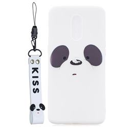 White Feather Panda Soft Kiss Candy Hand Strap Silicone Case for OnePlus 7