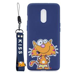 Blue Cute Cat Soft Kiss Candy Hand Strap Silicone Case for OnePlus 7