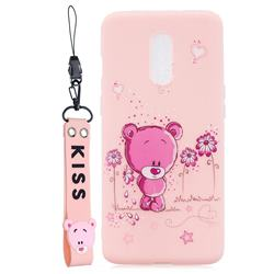 Pink Flower Bear Soft Kiss Candy Hand Strap Silicone Case for OnePlus 7