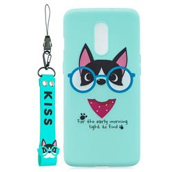 Green Glasses Dog Soft Kiss Candy Hand Strap Silicone Case for OnePlus 7